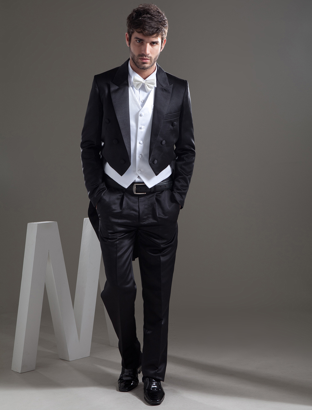 Buy Traditional Black Worsted Groom Wedding Swallowtail Tuxedo for $161.91 in Milanoo store
