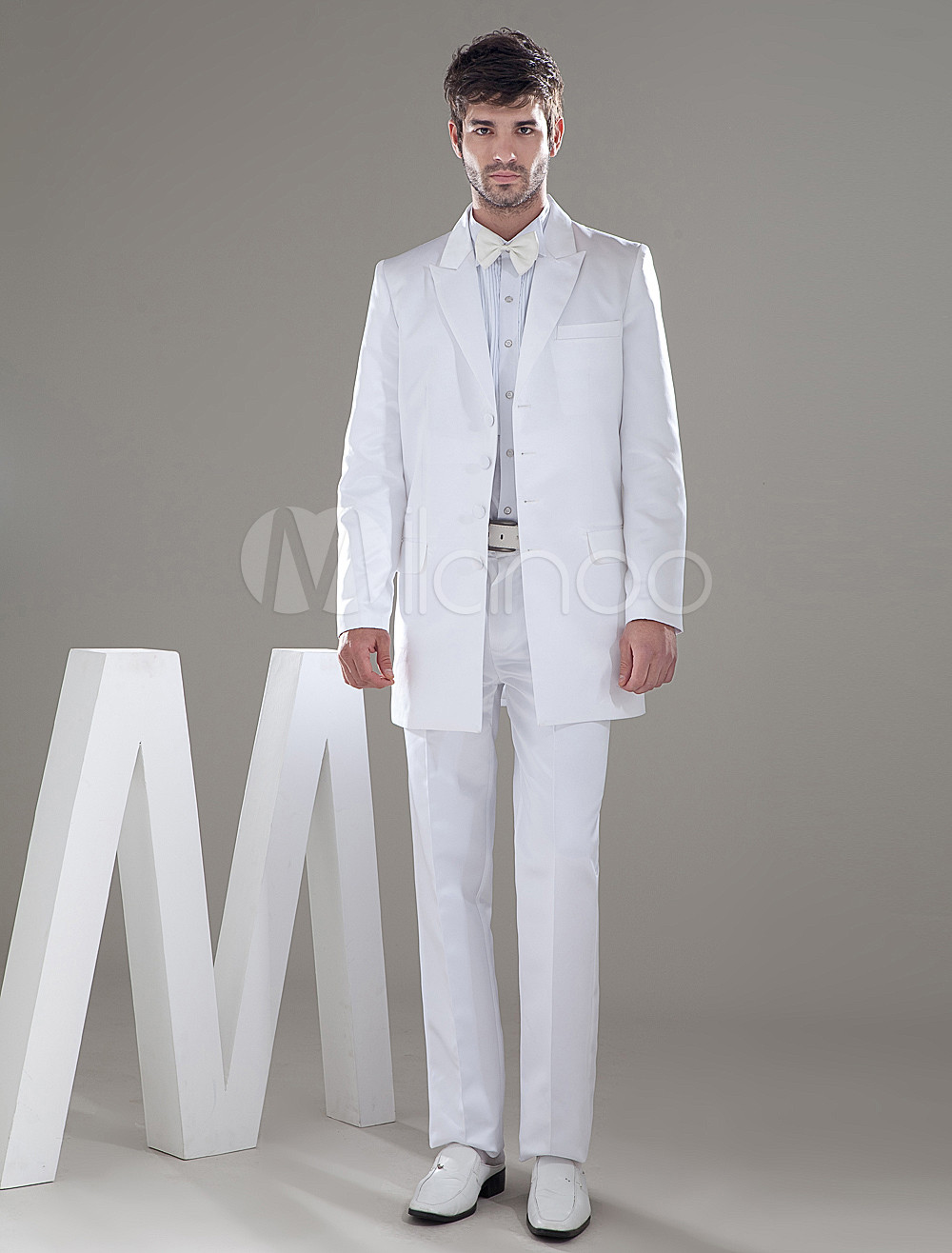 Buy White Single Breasted Button Lapel Worsted Groom Wedding Tuxedo for $149.99 in Milanoo store