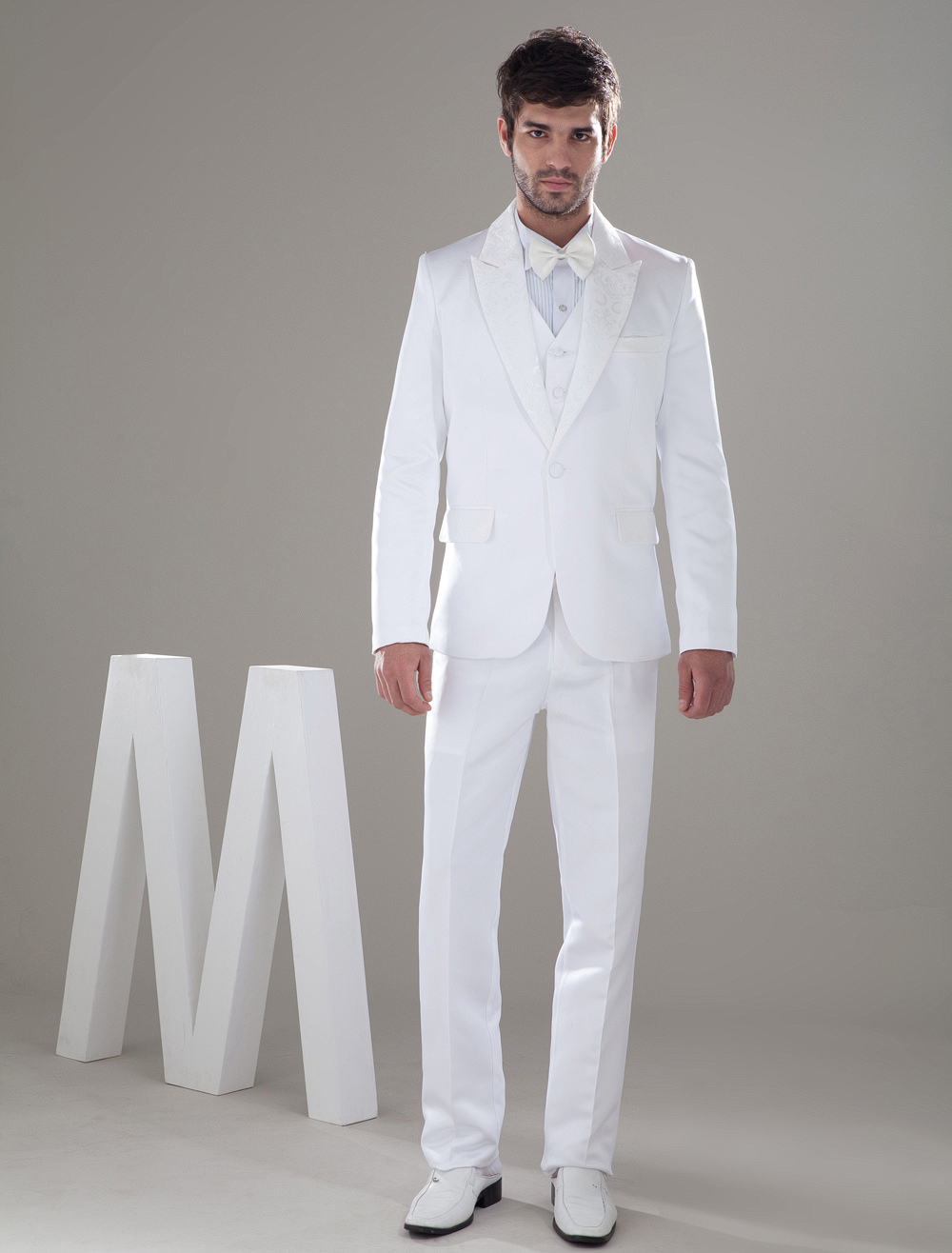 White Popular Worsted Bow Groom Wedding Suit - Milanoo.com