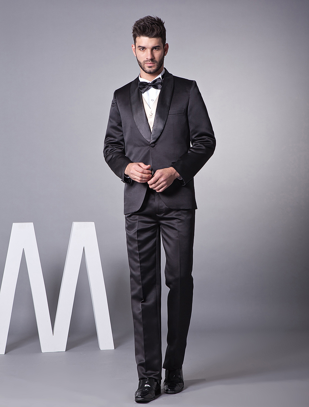 Buy Black Single Breasted Button Groom Wedding Tuxedo for $149.39 in Milanoo store