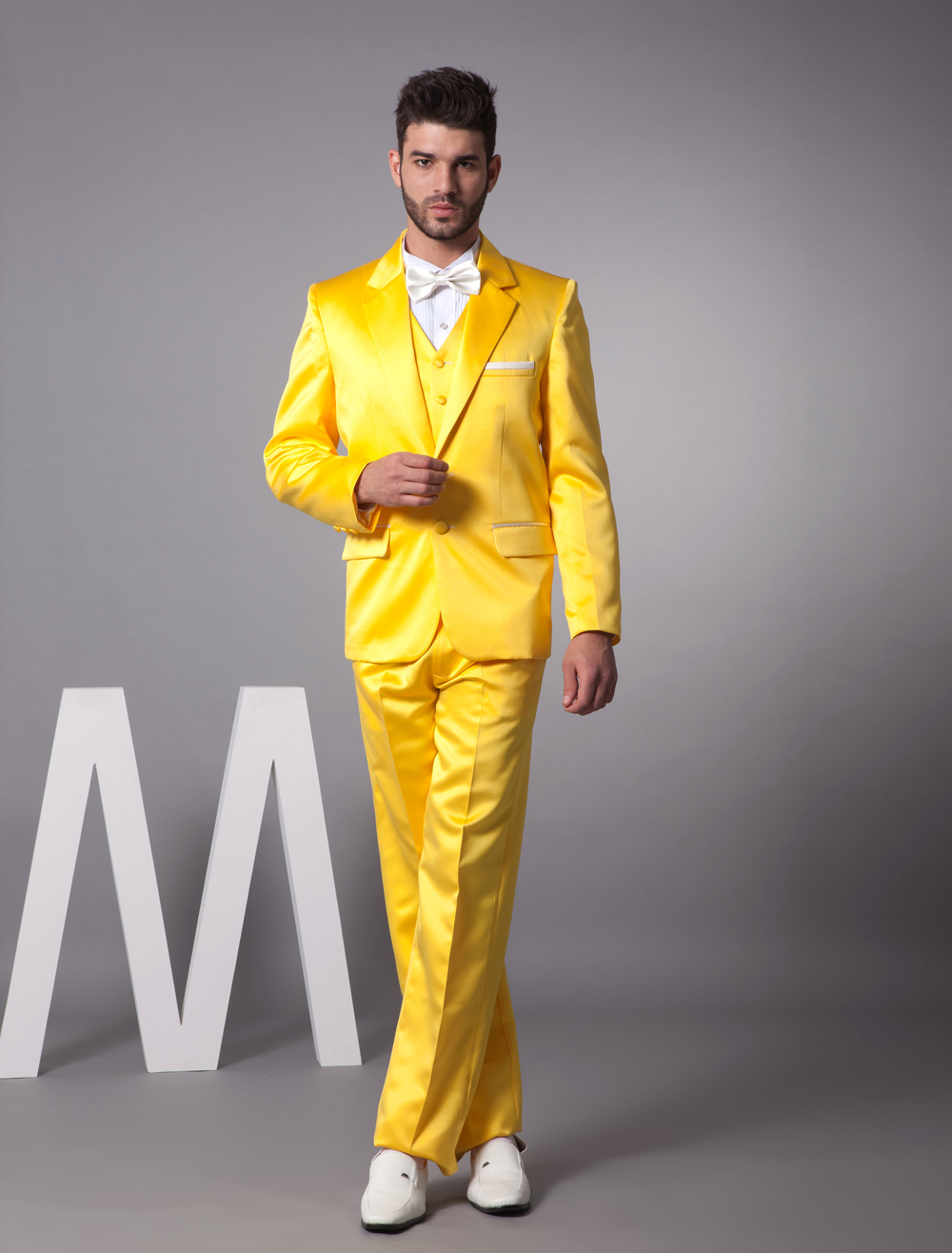 Buy Yellow Single Breasted Button Lapel Worsted Groom Wedding Tuxedo for $119.99 in Milanoo store