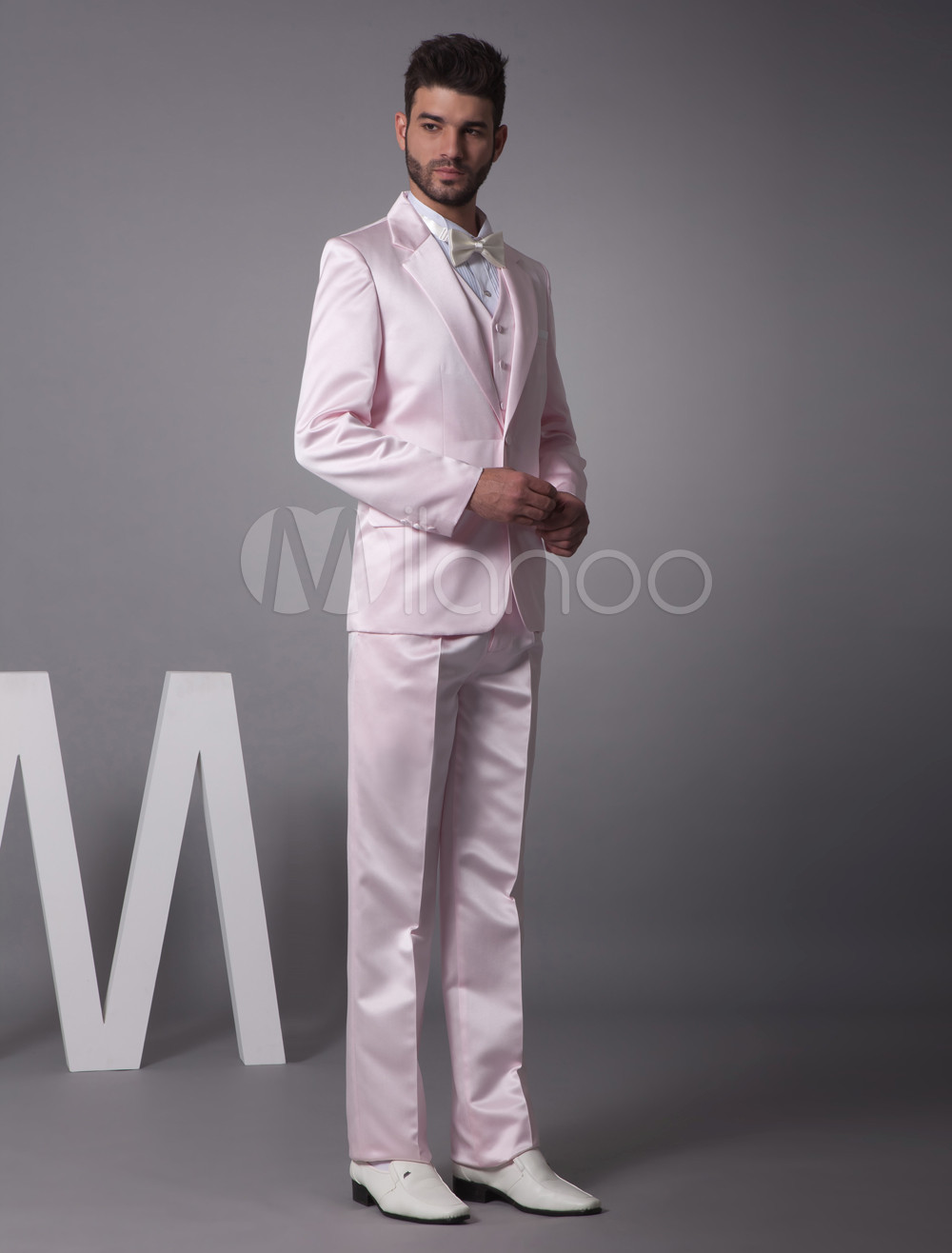 Buy Pink Single Breasted Button Worsted Groom Wedding Tuxedo for $121.75 in Milanoo store