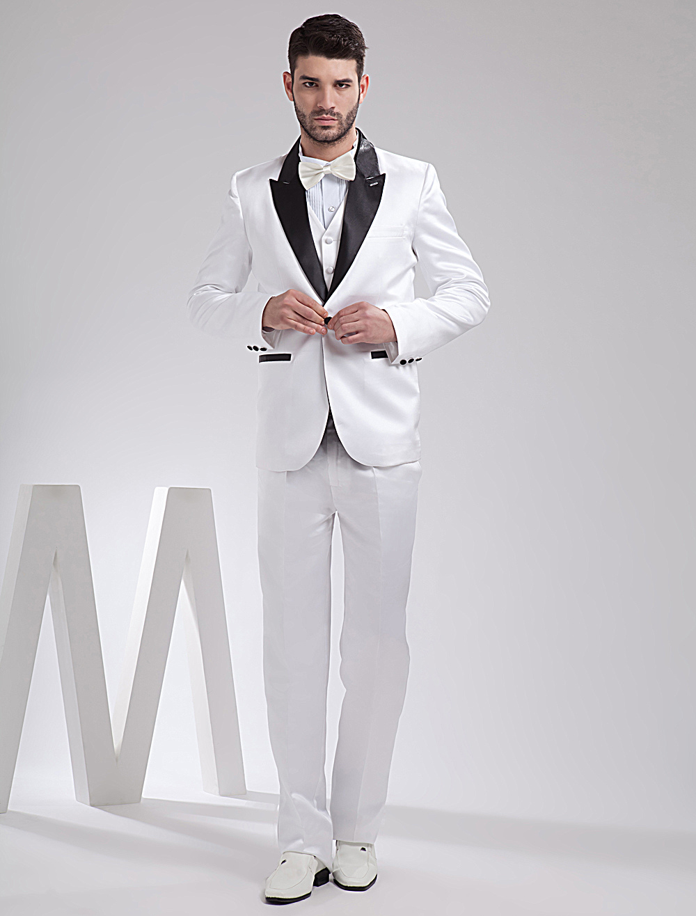 Cool White Satin Groom Wedding Tuxedo