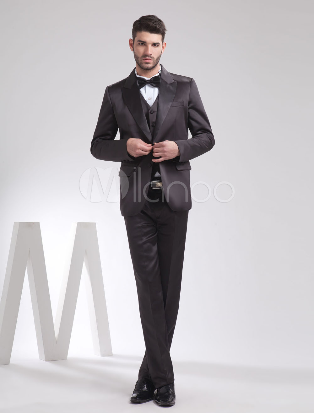 Buy Elegant Black Satin Two Buttons Men's Groom Tuxedo for $169.19 in Milanoo store