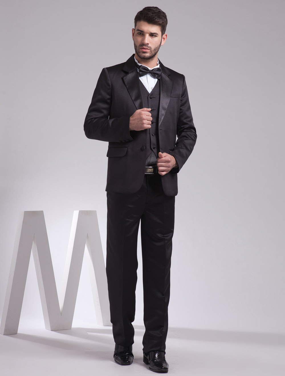 Buy Black Single Breasted Button Lapel Worsted Groom Wedding Tuxedo for $149.39 in Milanoo store