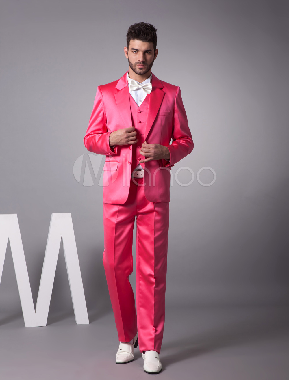 Buy Unique Fuchsia Single Breasted Button Satin Groom Wedding Tuxedo for $149.39 in Milanoo store