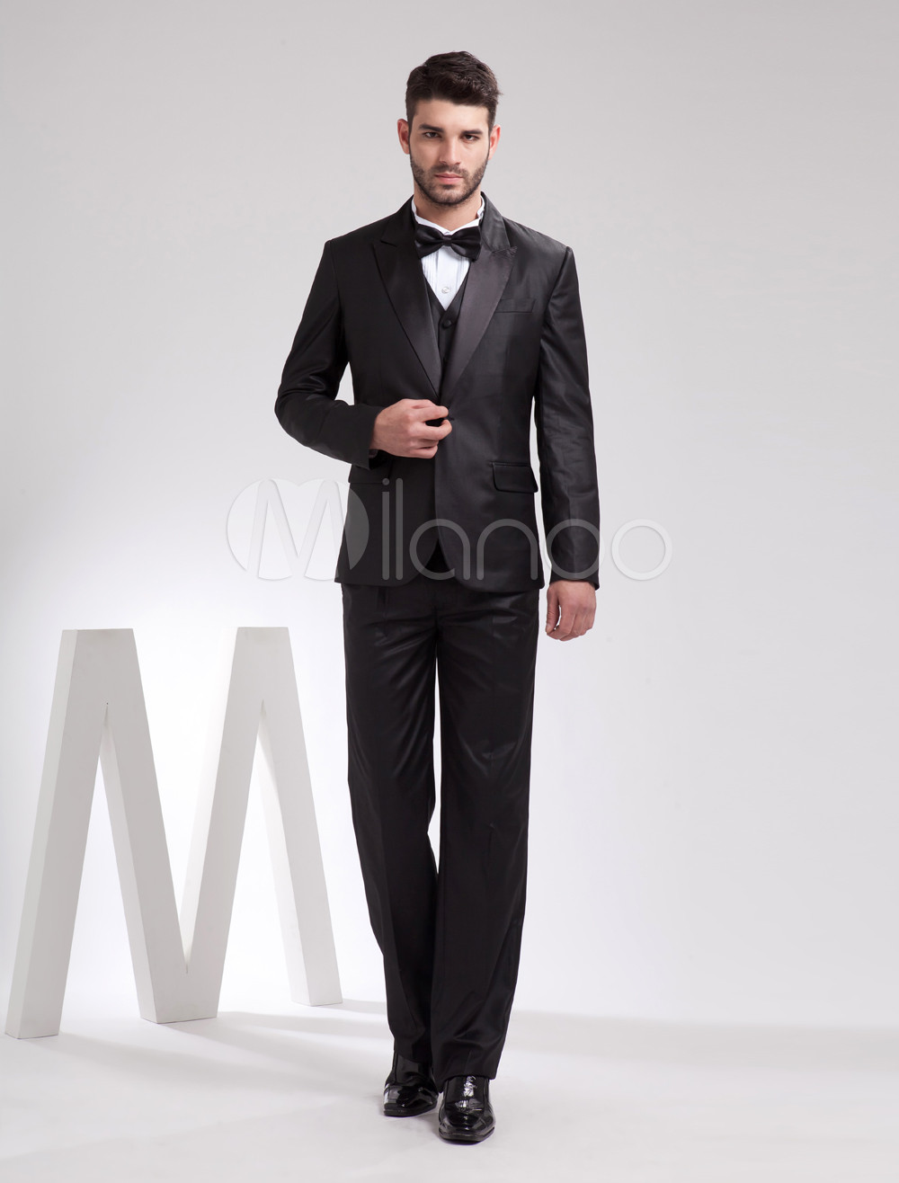 Buy Handsome Black Serge Front Button Groom Tuxedo for $181.27 in Milanoo store