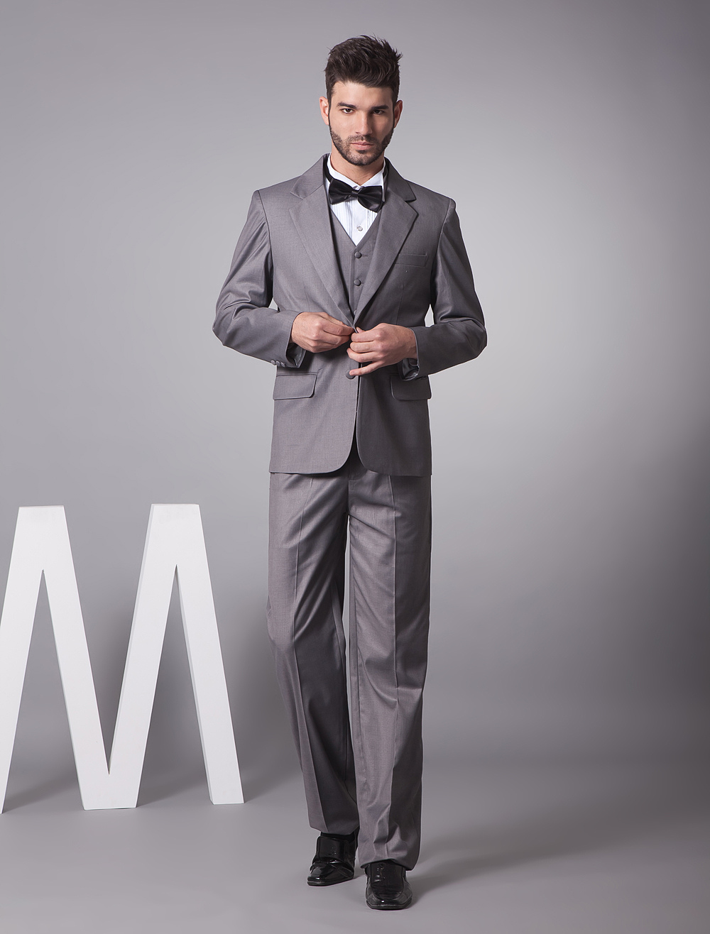 Buy Handsome Gray Single Breasted Button Lapel Serge Groom Wedding Tuxedo for $179.09 in Milanoo store