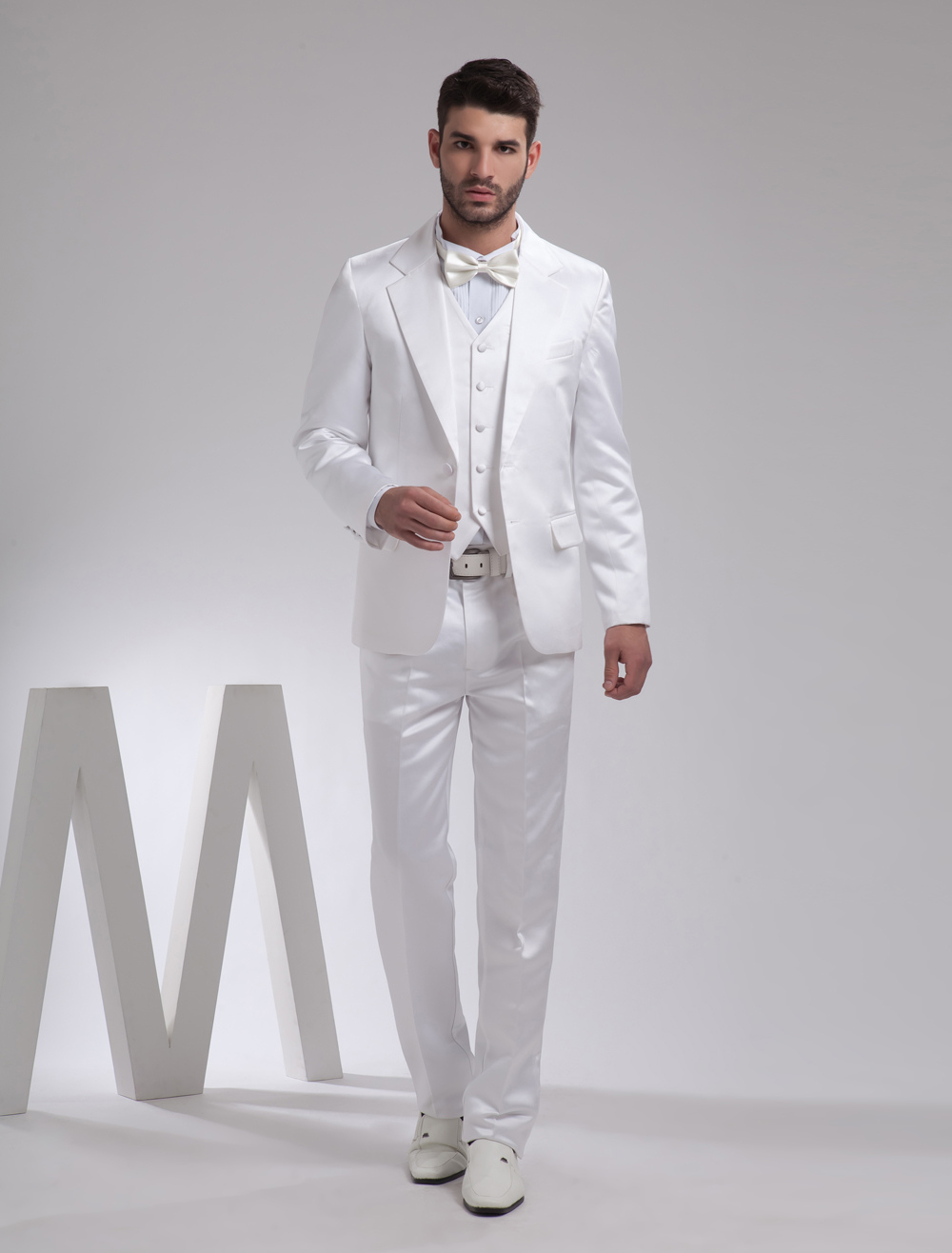 Buy Nice White Lapel Single Breasted Button Worsted Groom Wedding Tuxedo for $149.39 in Milanoo store