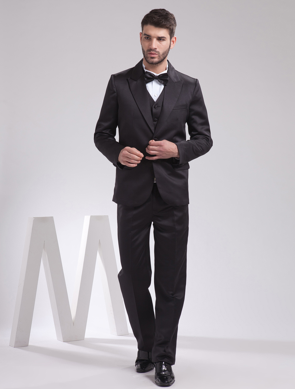 Buy Quality Black Satin Groom Wedding Tuxedo for $159.29 in Milanoo store