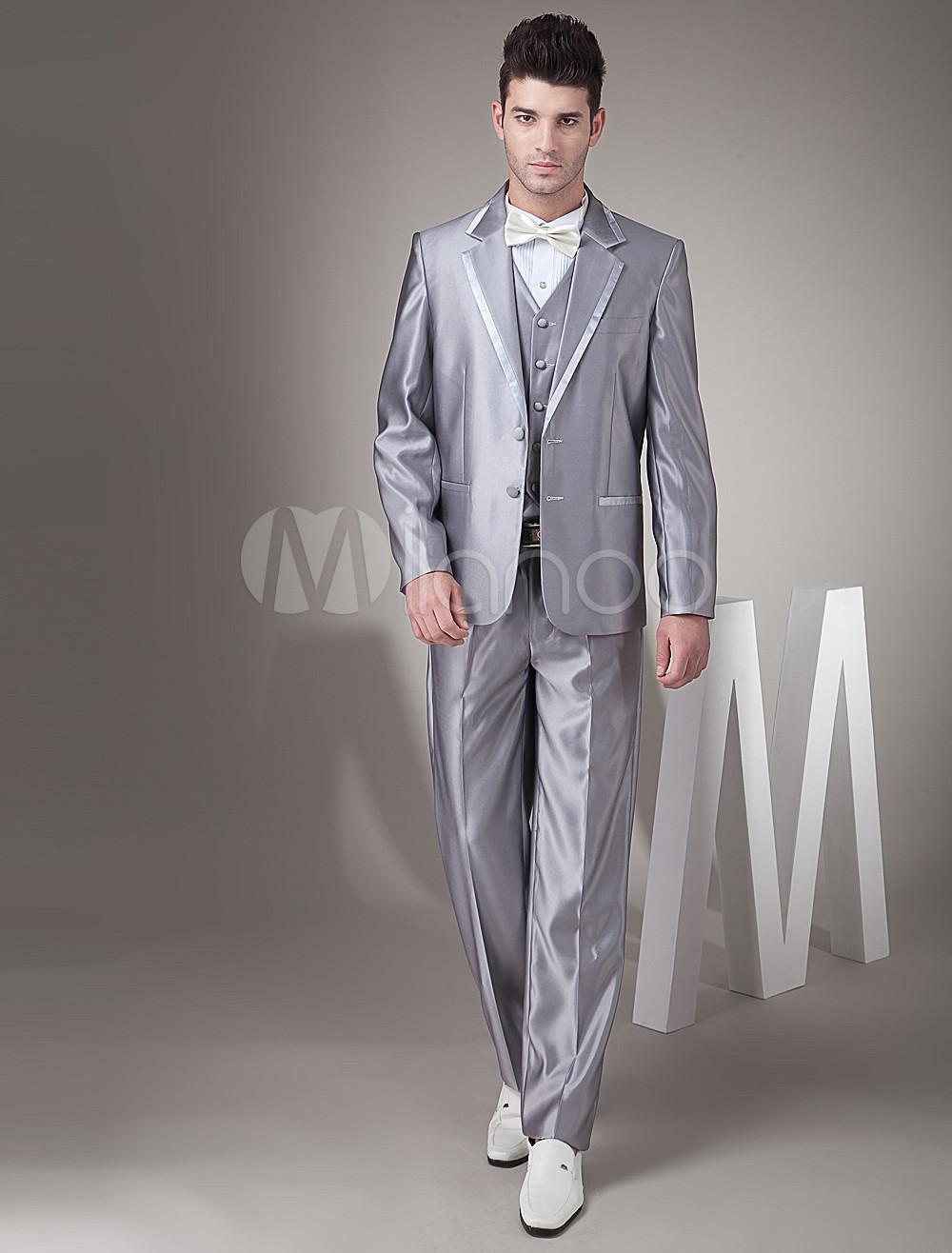 Buy Slim Silver Single Breasted Button Worsted Groom Wedding Tuxedo for $149.39 in Milanoo store