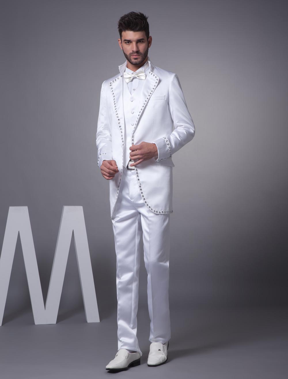 White Classic Satin Groom Wedding Suit