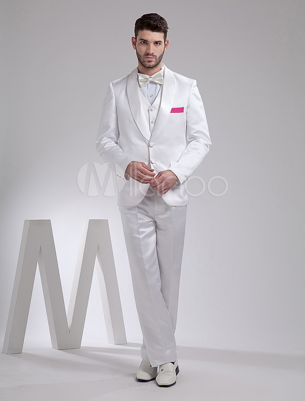 Buy White Handsome Satin Groom Wedding Tuxedo for $159.29 in Milanoo store