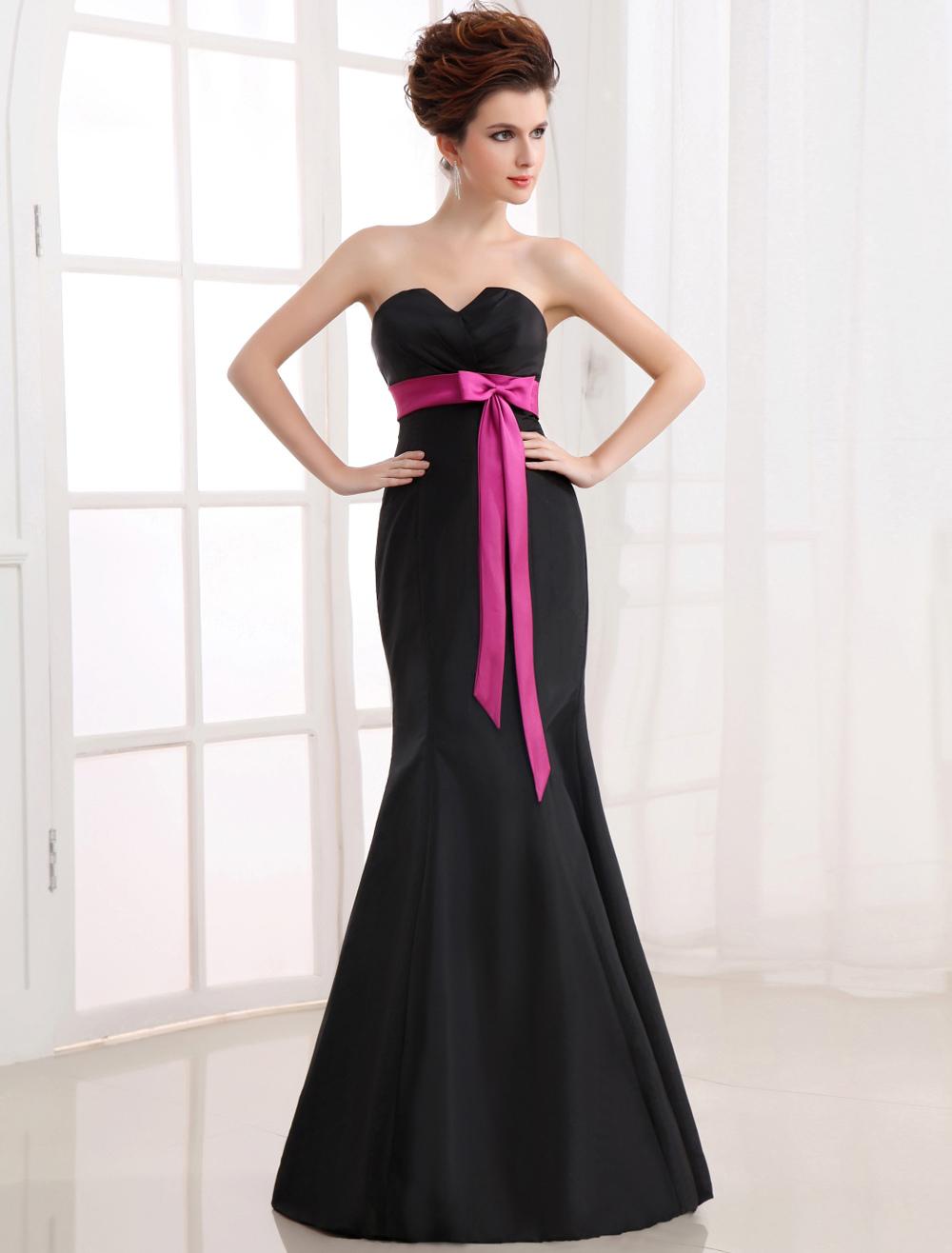 Black Evening Dress Mermaid Strapless Bow Sash Satin Dress