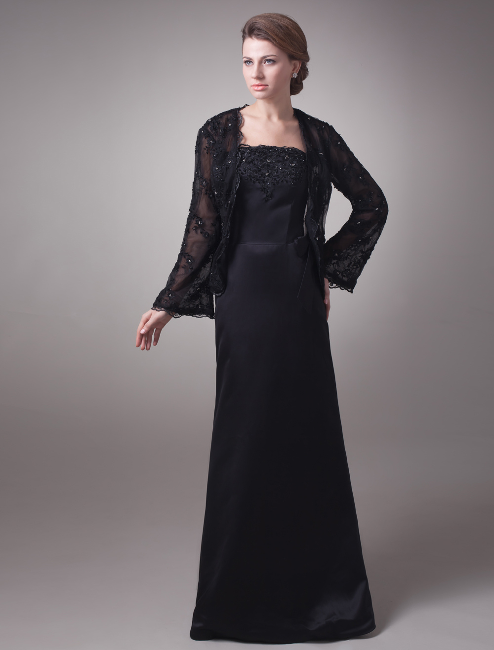 Satin Lace Floor Length Mother of The Bride Dress