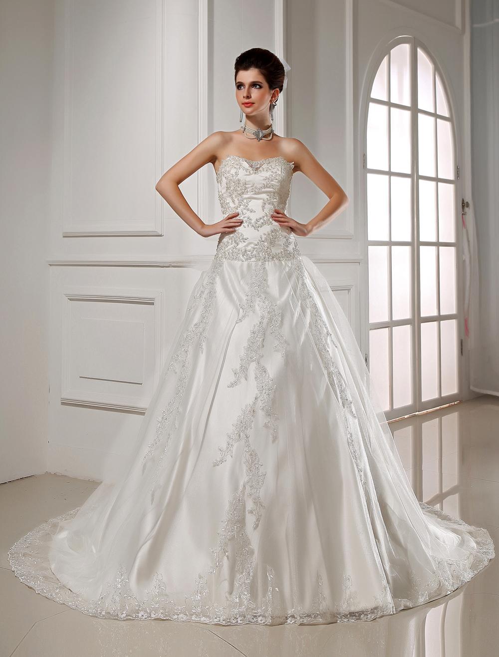 Wedding Dresses Wedding Dresses Strapless White Bridal Gown Satin Lace Applique Sequin A Line Chapel Train Bridal Dress