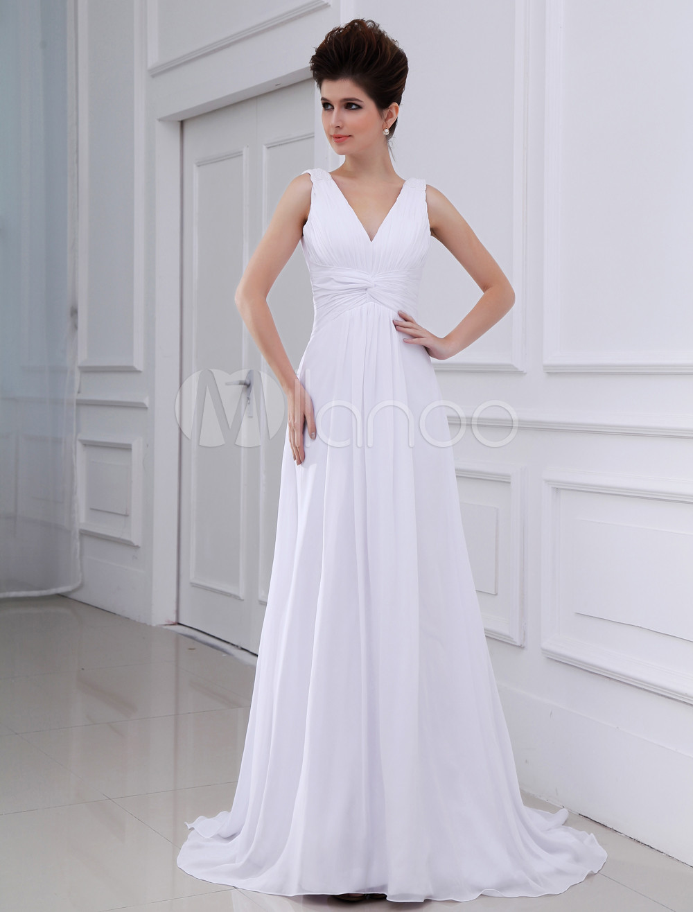 f672f8ea433a Elegant Sheath V-Neck Empire Waist Chiffon Wedding Dress For Bride -  Milanoo.com