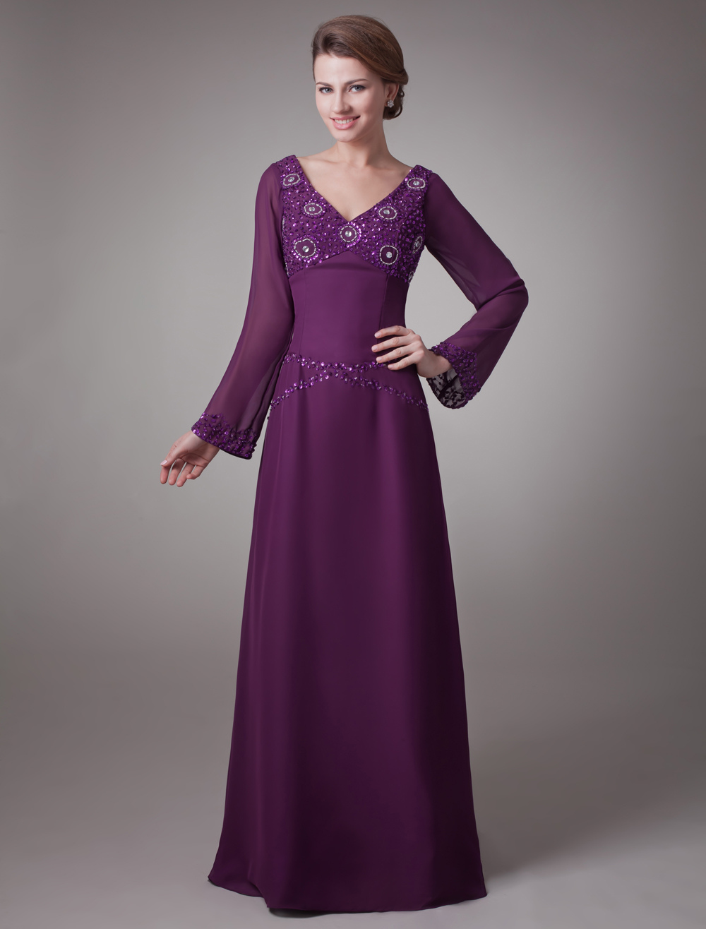 Buy Grape A-line Charming Mother of the Bride Dress with V-Neck Sequin Long Sleeves for $121.59 in Milanoo store