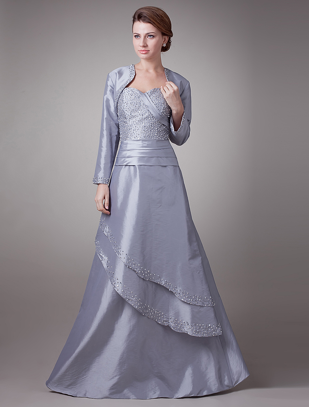 Noble Silver Taffeta Sweetheart A-Line Mother of The Bride Dress