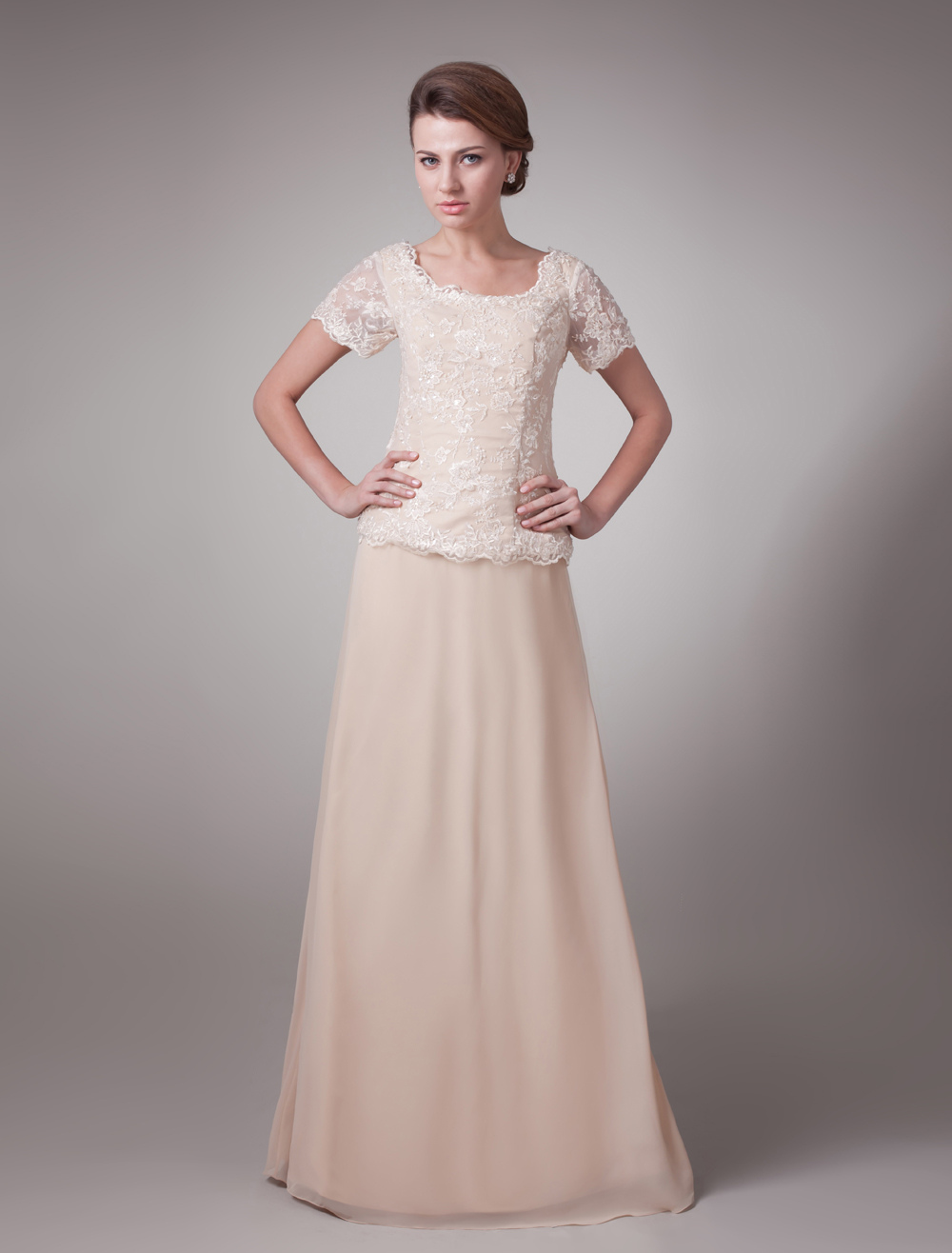 Pink Formal Short Sleeves Lace Satin Mother Of Bride And Groom Dress