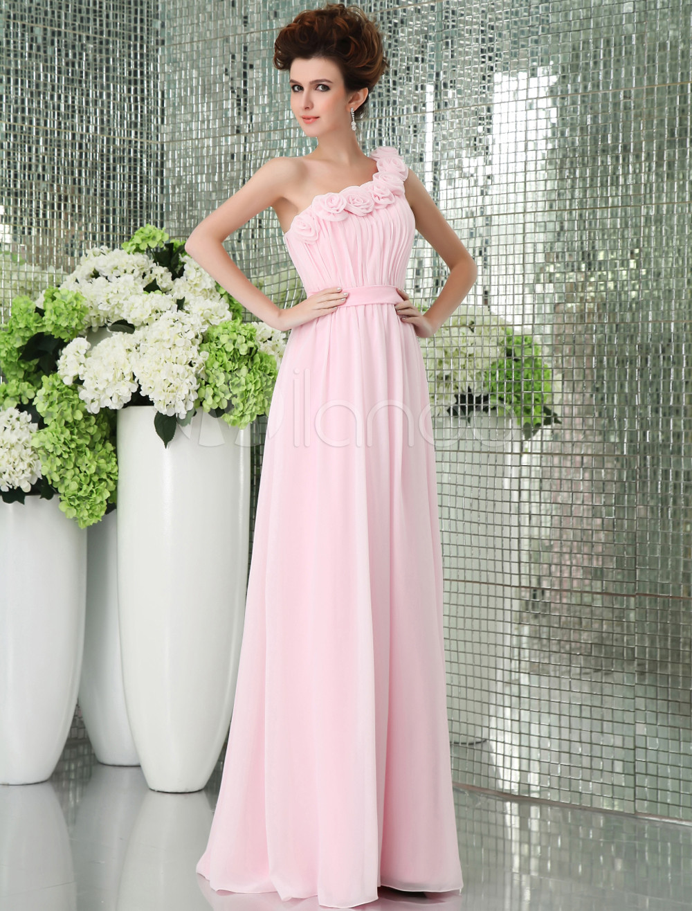 Pink one shoulder chiffon floor length womens bridesmaid dress 30off ombrellifo Images