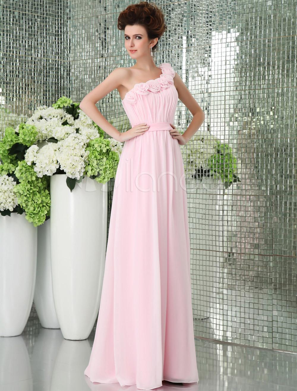 Pink One-shoulder Chiffon Floor Length Womens Bridesmaid Dress
