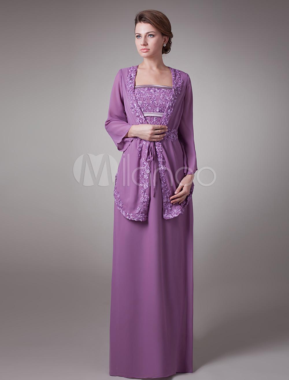 Vestido para la madre de la novia de gasa púrpura con chaleco con ...