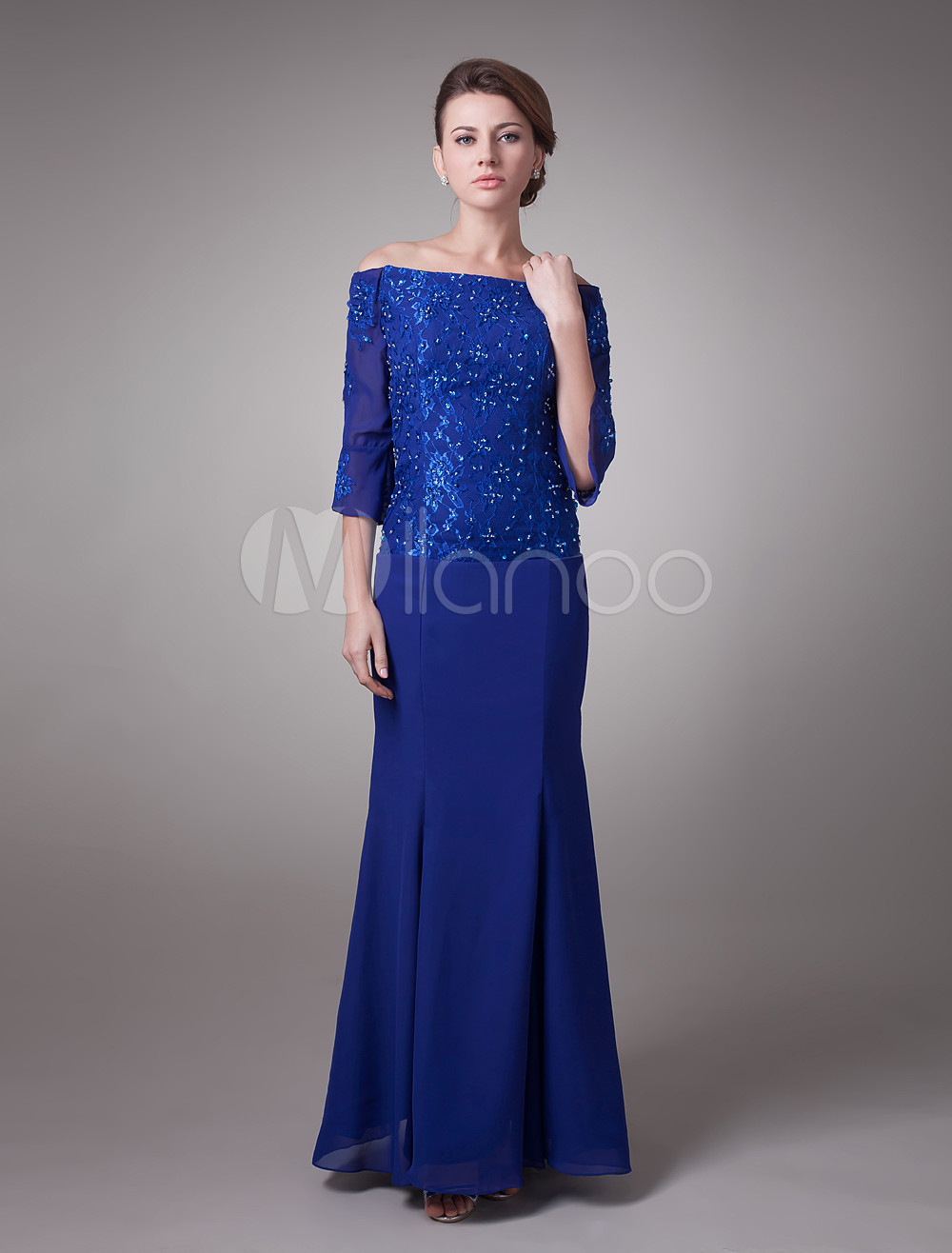 Buy Royal Blue Off-The-Shoulder Chiffon Mother Of Bride And Groom Dress for $152.99 in Milanoo store