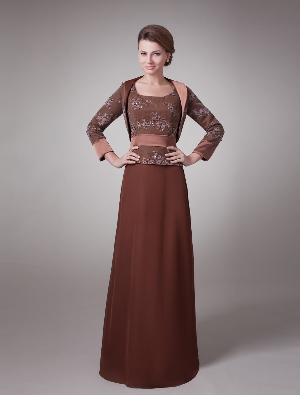 Mother Of Bride Dress Two Piece Brown Lace Embroidered Beaded Sash Satin Mother Outfit
