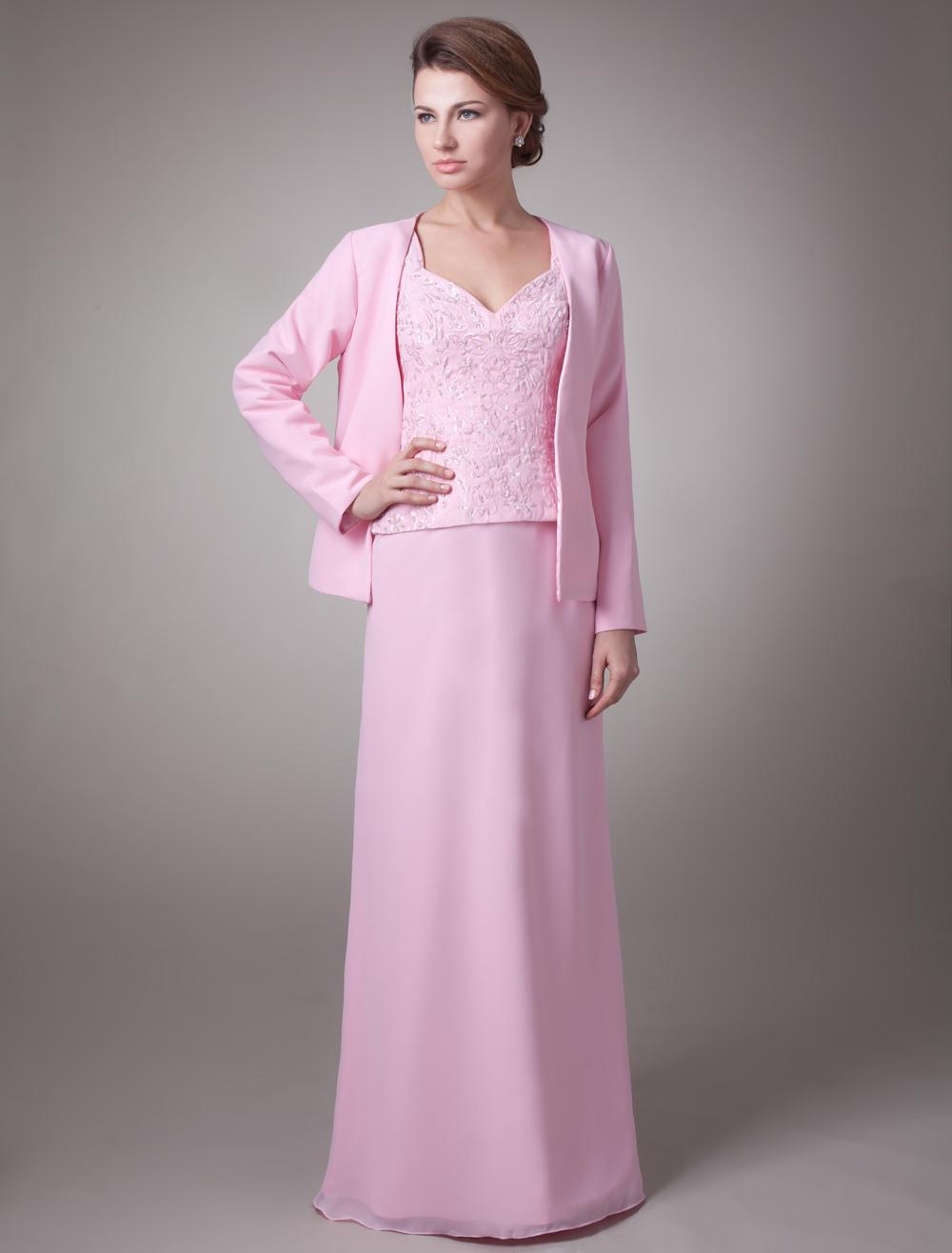 Vestido para la madre de novia de gasa de color rosa con escote en V ...