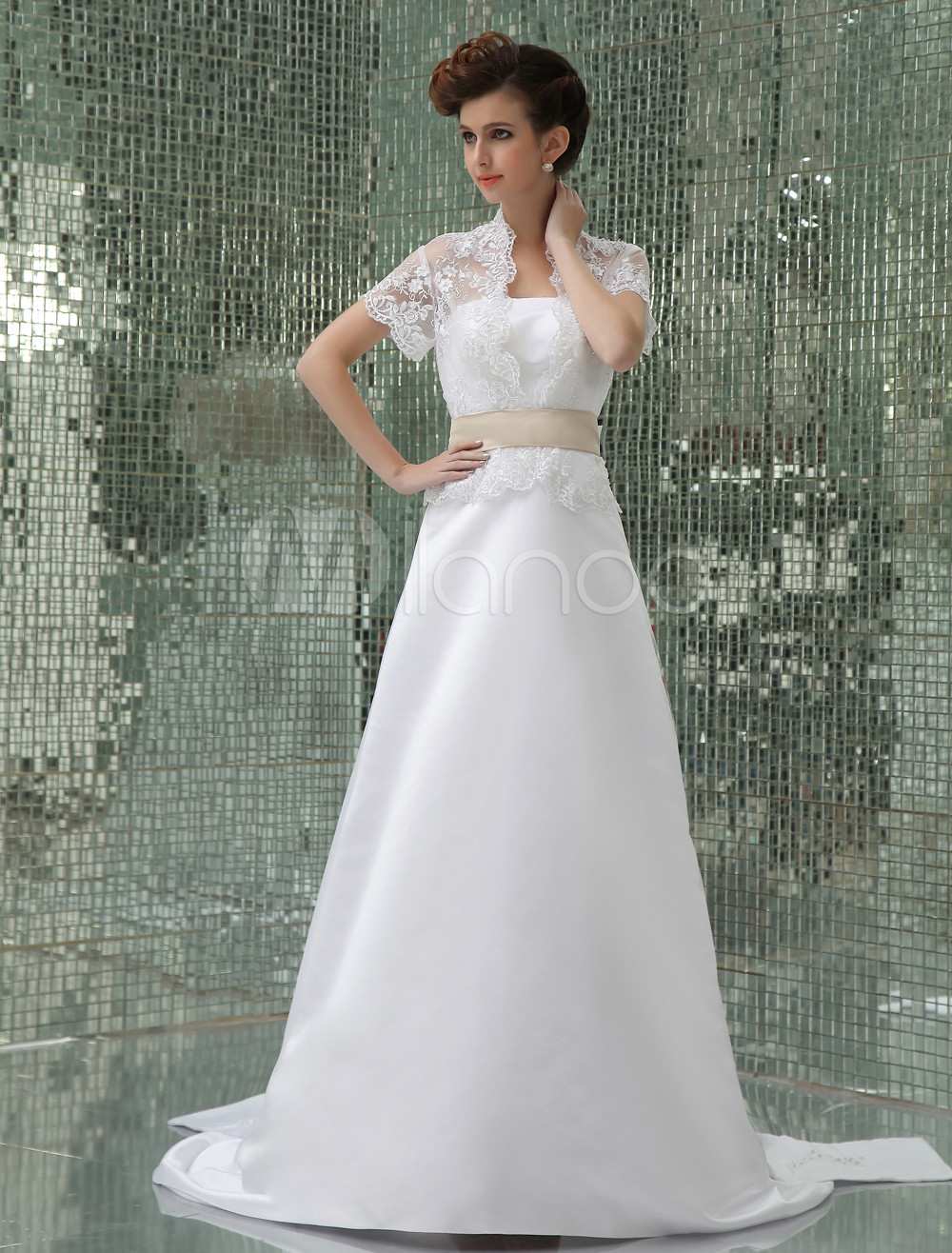 White A-Line Sash Beading Applique Lace Pongee Satin Wedding Dress ...