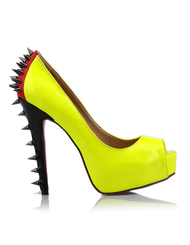 08ad737e1828d Scarpe a punta aperta sexy gialle con tacco da 14cm per la luna di miele-  ...