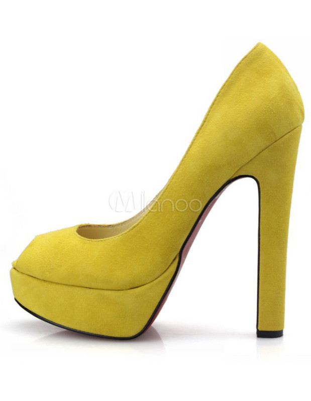 Yellow Platform Chunky Heel Sheepskin Suede Woman's Peep Toe Pumps ...