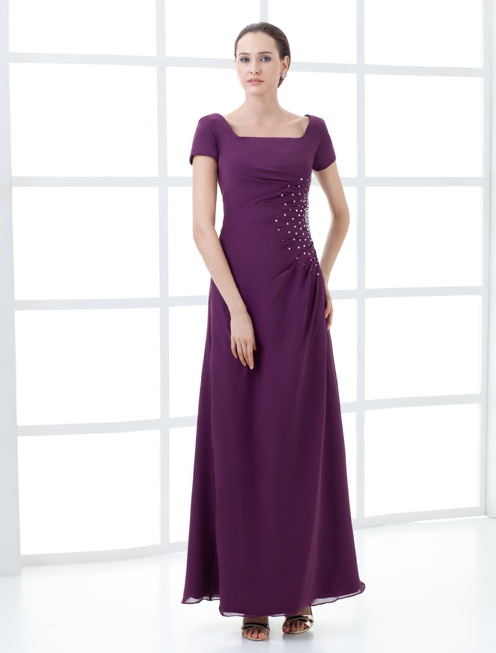 Attractive Short Sleeve Beading Long Chiffon Mother of the Bride Dress