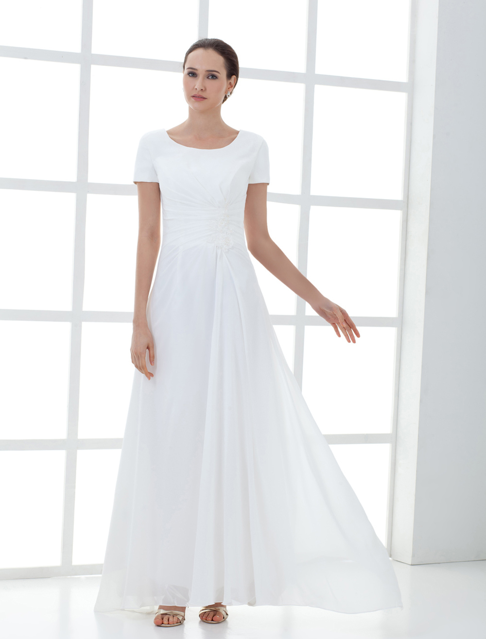 Beautiful White Short Sleeve Pleated Chiffon Mother of the Bride Dress