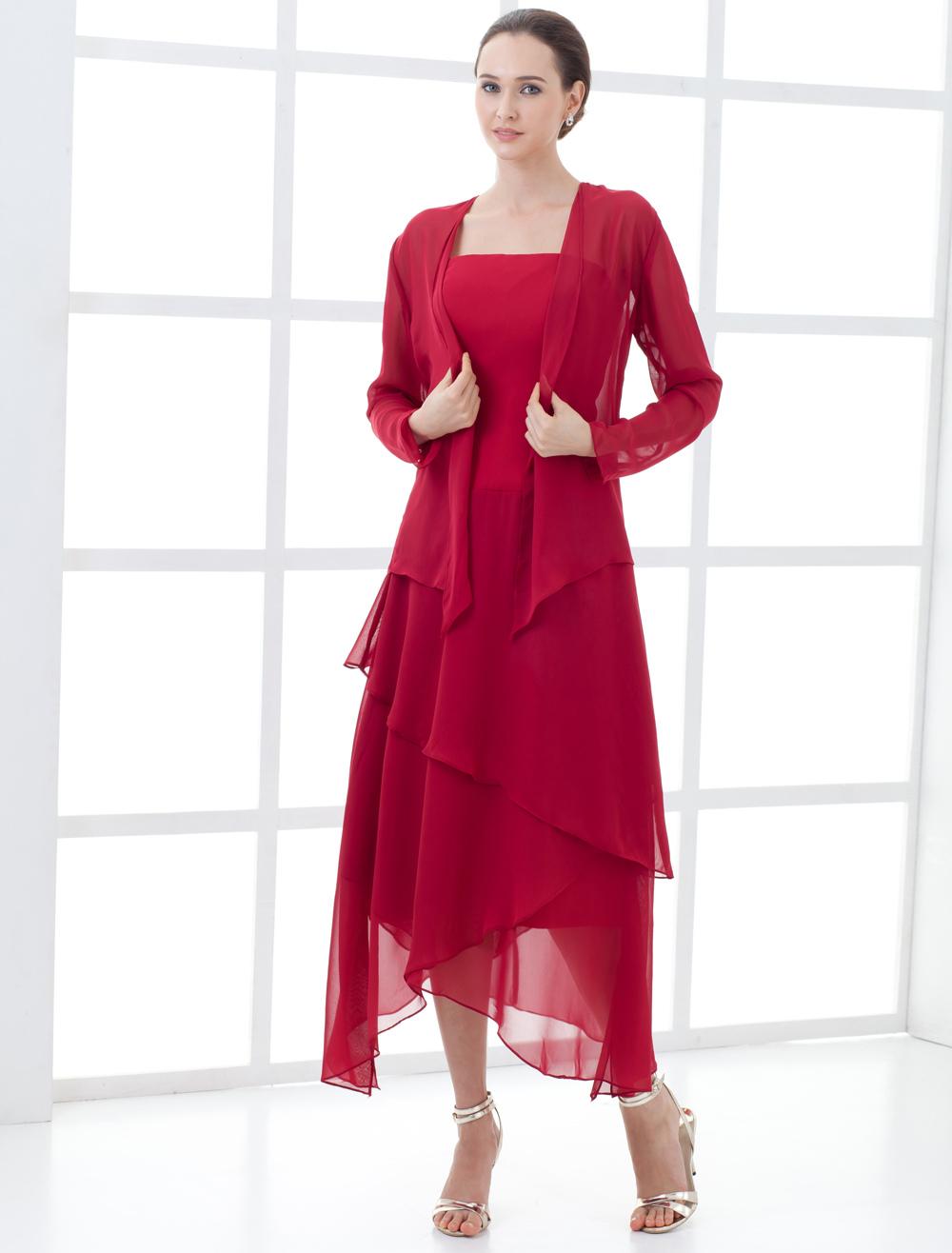 Elegant Wine Red Chiffon Mother Of The Bride Dress Wedding Guest Dress