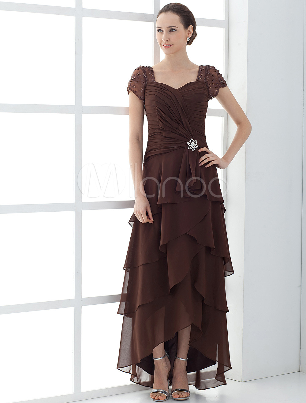 High low mother of the bride dress with short sleeve for Modern western wedding dresses