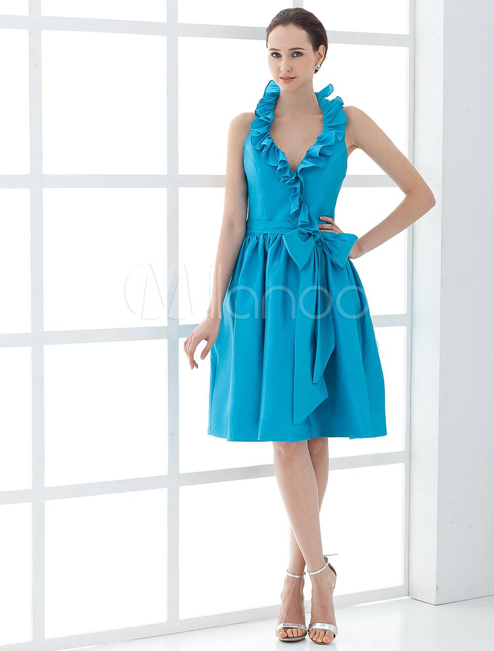 8853ff716 ... Vestido para la madre de la novia de tafetán azul de línea A con faja de.  12. -30%. color Verde azulado
