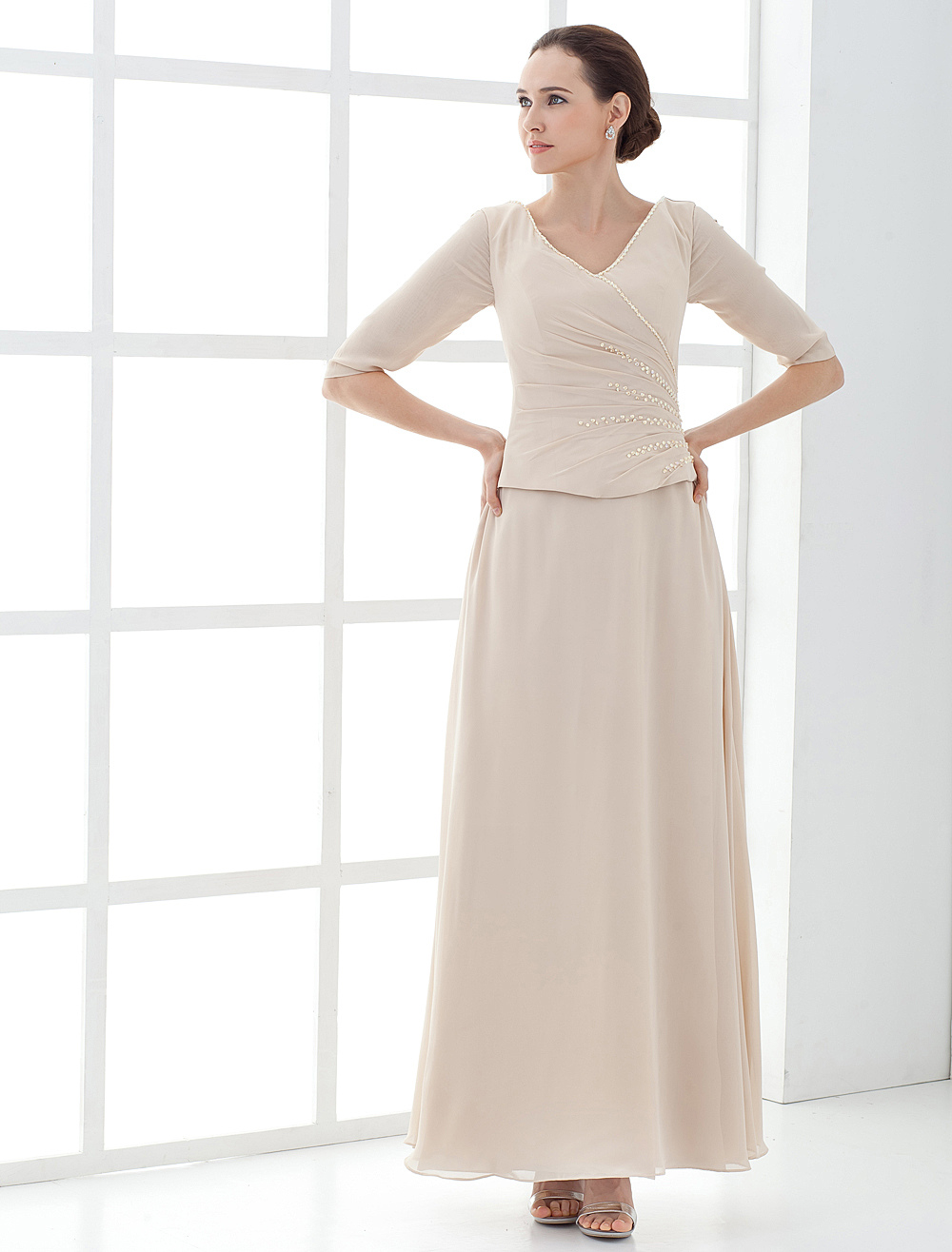 One-Piece V-Neck Satin Mother Of Bride And Groom Dress Wedding Guest Dress