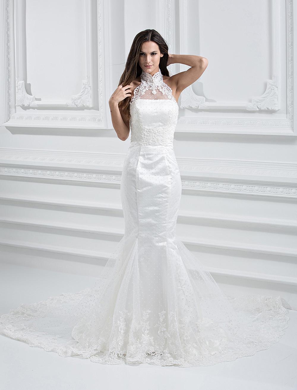 Buy Elegant White Net Strapless Mermaid Trumpet Column Wedding Dress for $239.99 in Milanoo store