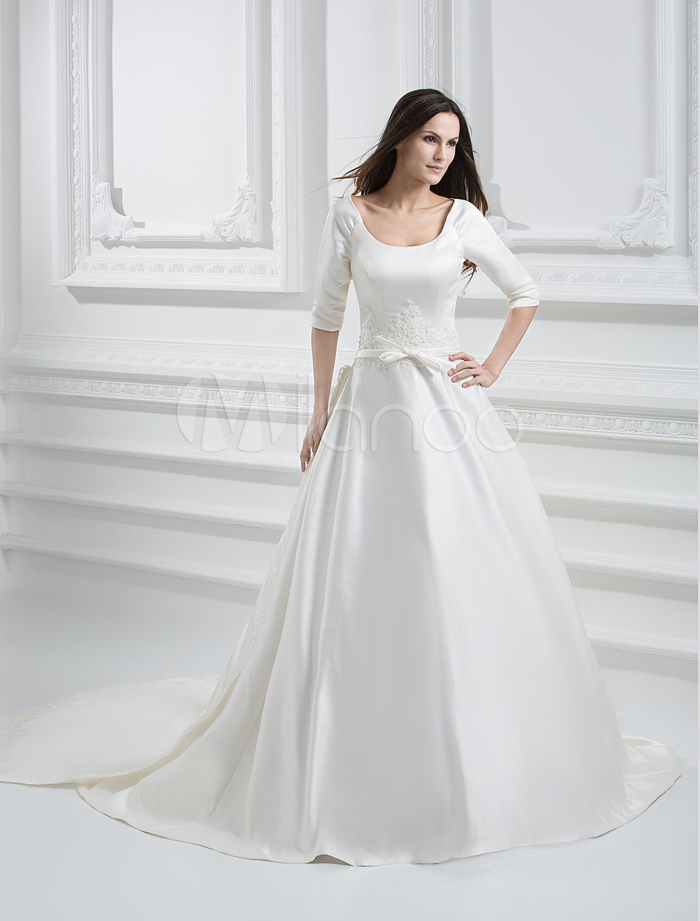 Modern White Satin Jewel A-line Wedding Dress