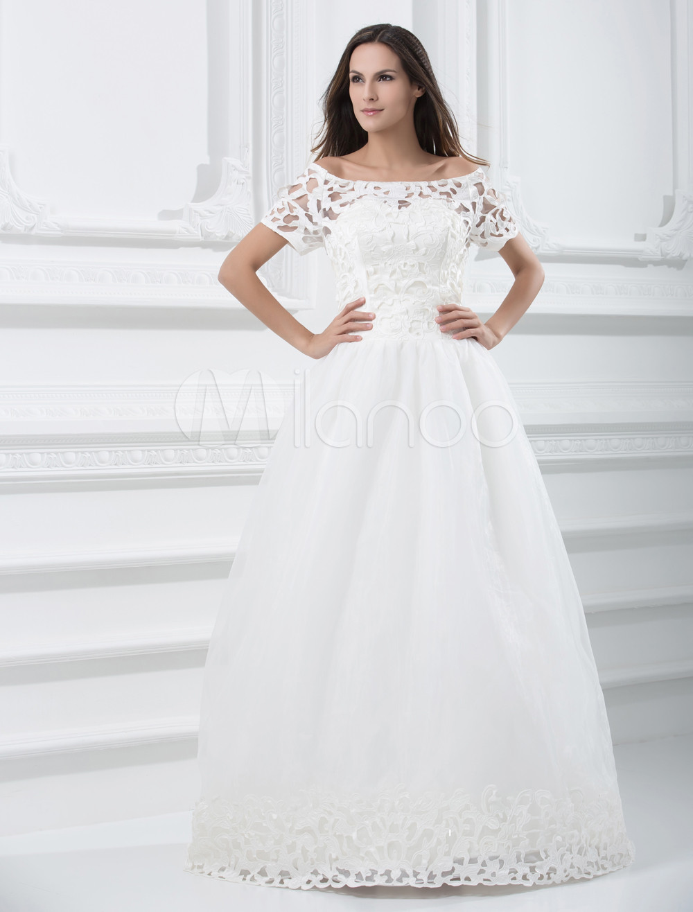 Pretty Ivory Round Collar A-line Lace Wedding Dress - Milanoo.com