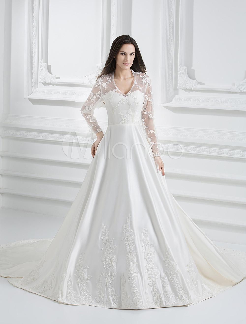 Princess Kate 2M Sweep Ivory Satin Lace V-Neck Wedding Dress ...