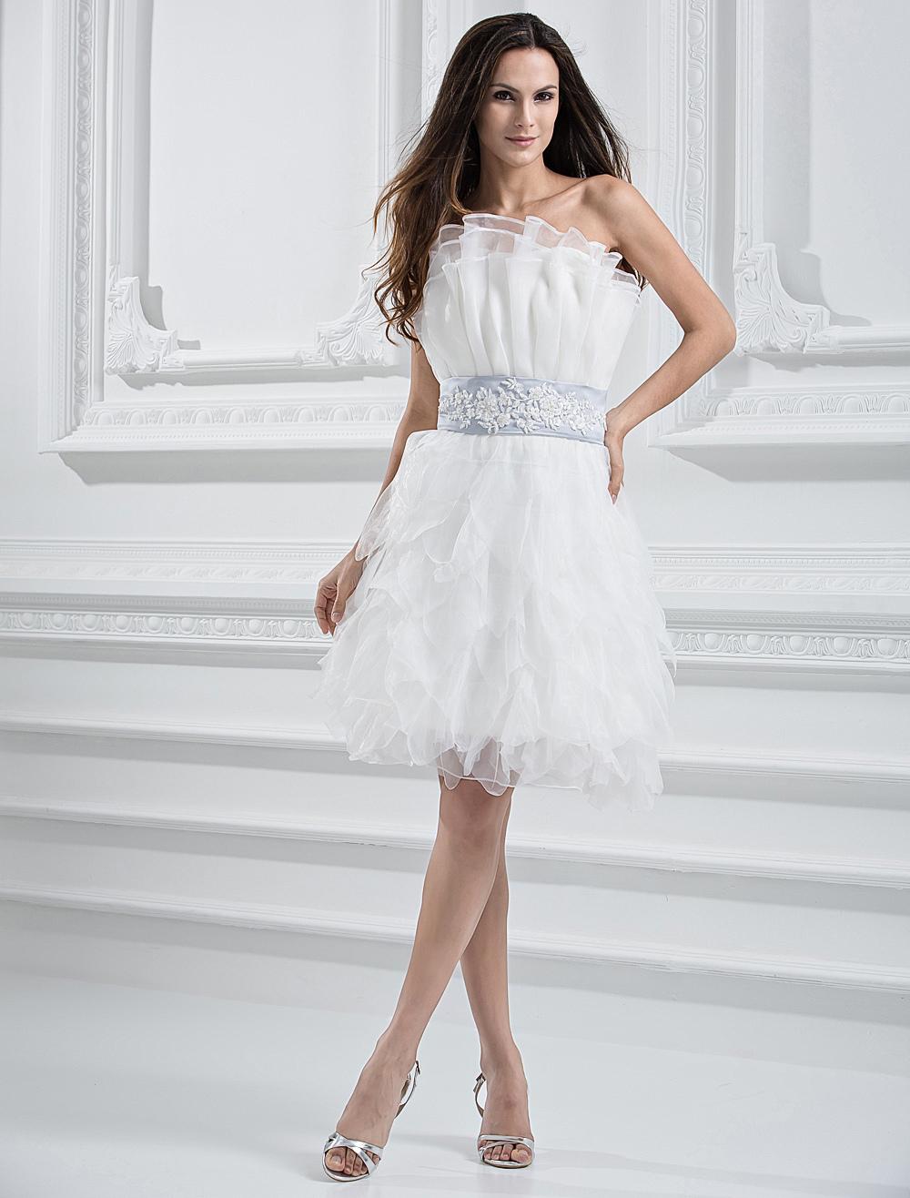 White Tulle Beautiful A Line Women Short Wedding Dress Milanoo