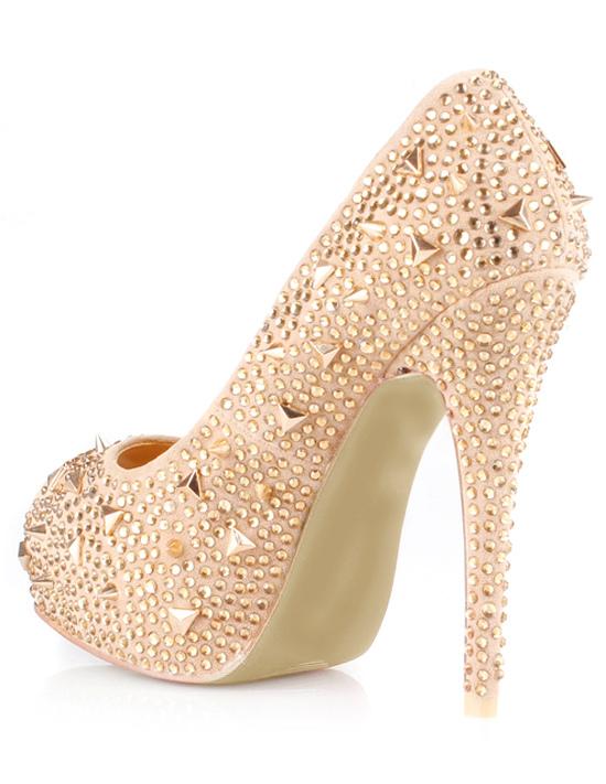 Zapatos peep toe champaña con pedrería y tachuelas B7h0j4v