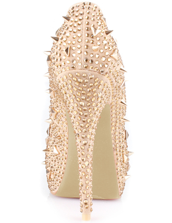 Zapatos peep toe champaña con pedrería y tachuelas qGPHqPSqm