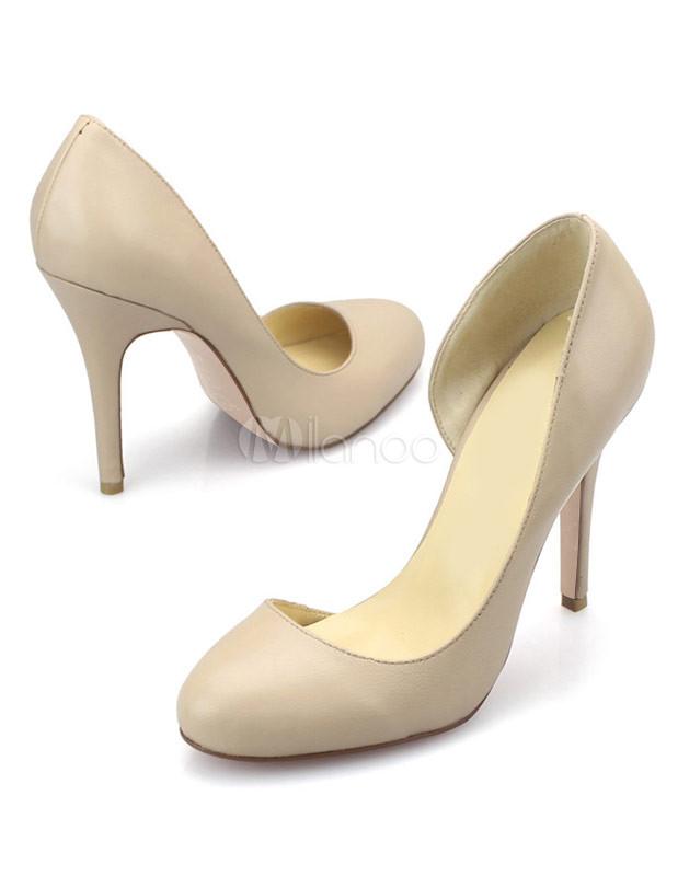 Piel Color De Beige Medio Zapatos Tacón Carnero twFOz1