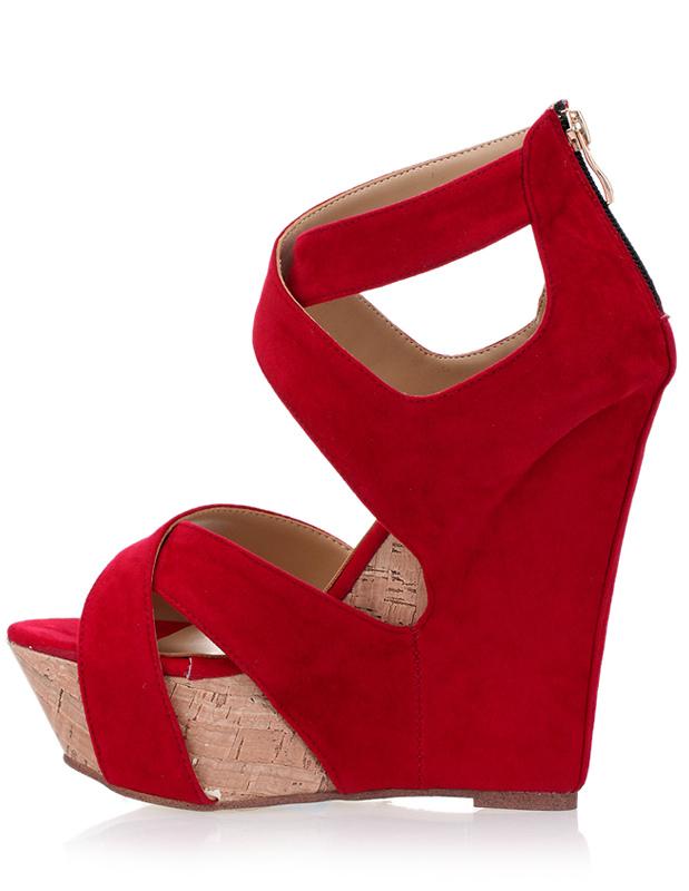 Red Wedge Heel Pump Shoes