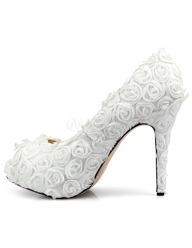 Sweet white cloth flowers womens high heel shoes milanoo sweet white cloth flowers womens high heel mightylinksfo