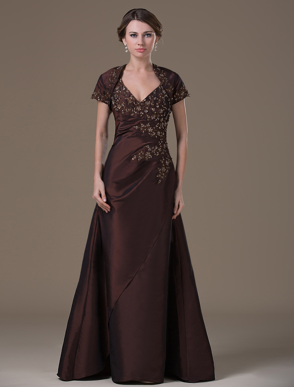 Chocolate A-line Backless Taffeta Fashion Dress For Mother of the Bride with V-Neck Beading Short Sleeves